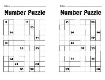 Image result for number puzzles for kids hundred chart