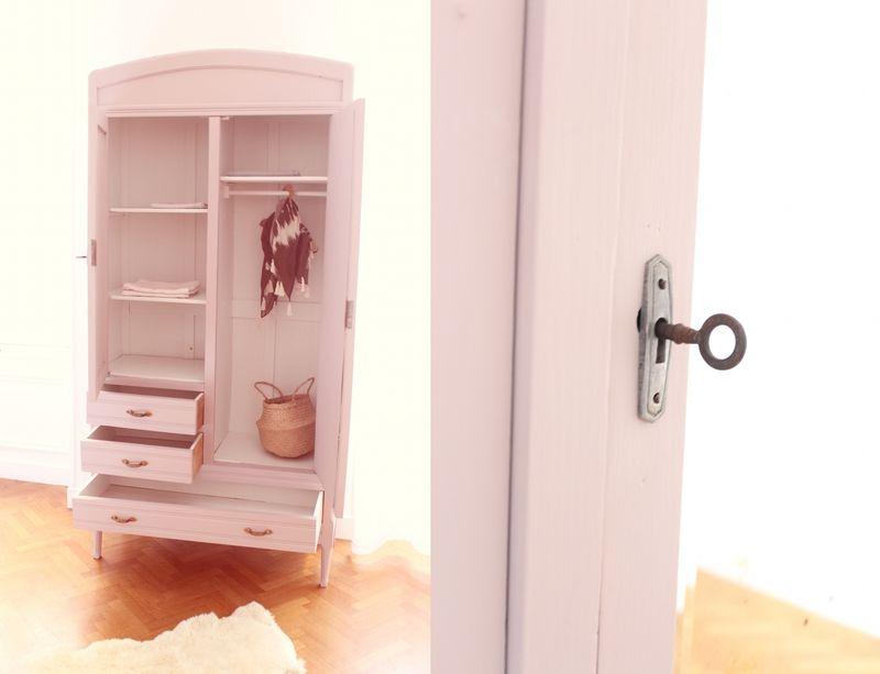 armoire chambre enfant vieux rose penderie TRENDY LITTLE 3 ...
