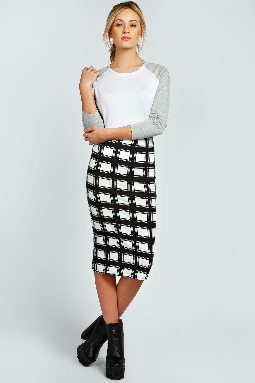 402b9c054083 Maeve Large Grid Check Monochrome Midi Skirt   My Dreams   Midi ...
