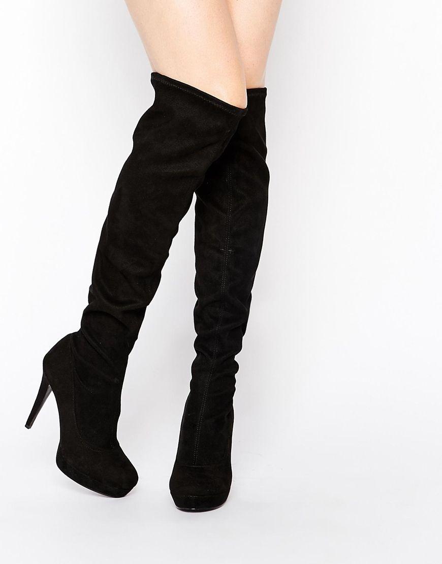 Faith Noble Black Over The Knee High Heeled Boots