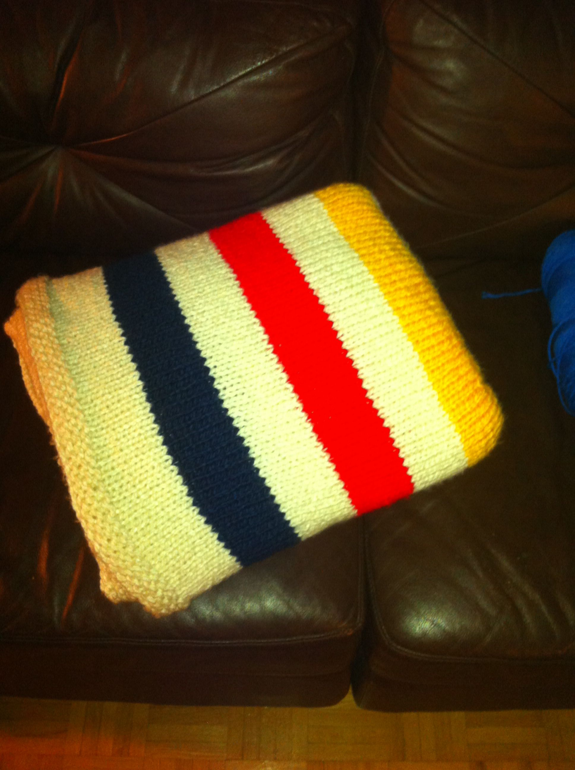 Hand knit queen size Hudson\'s Bay blanket- adapted baby blanket ...