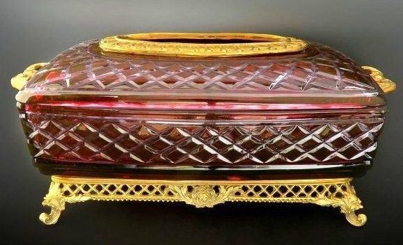 A rare Ruby cut to clear French Dore Bronze Mounted Tissue box