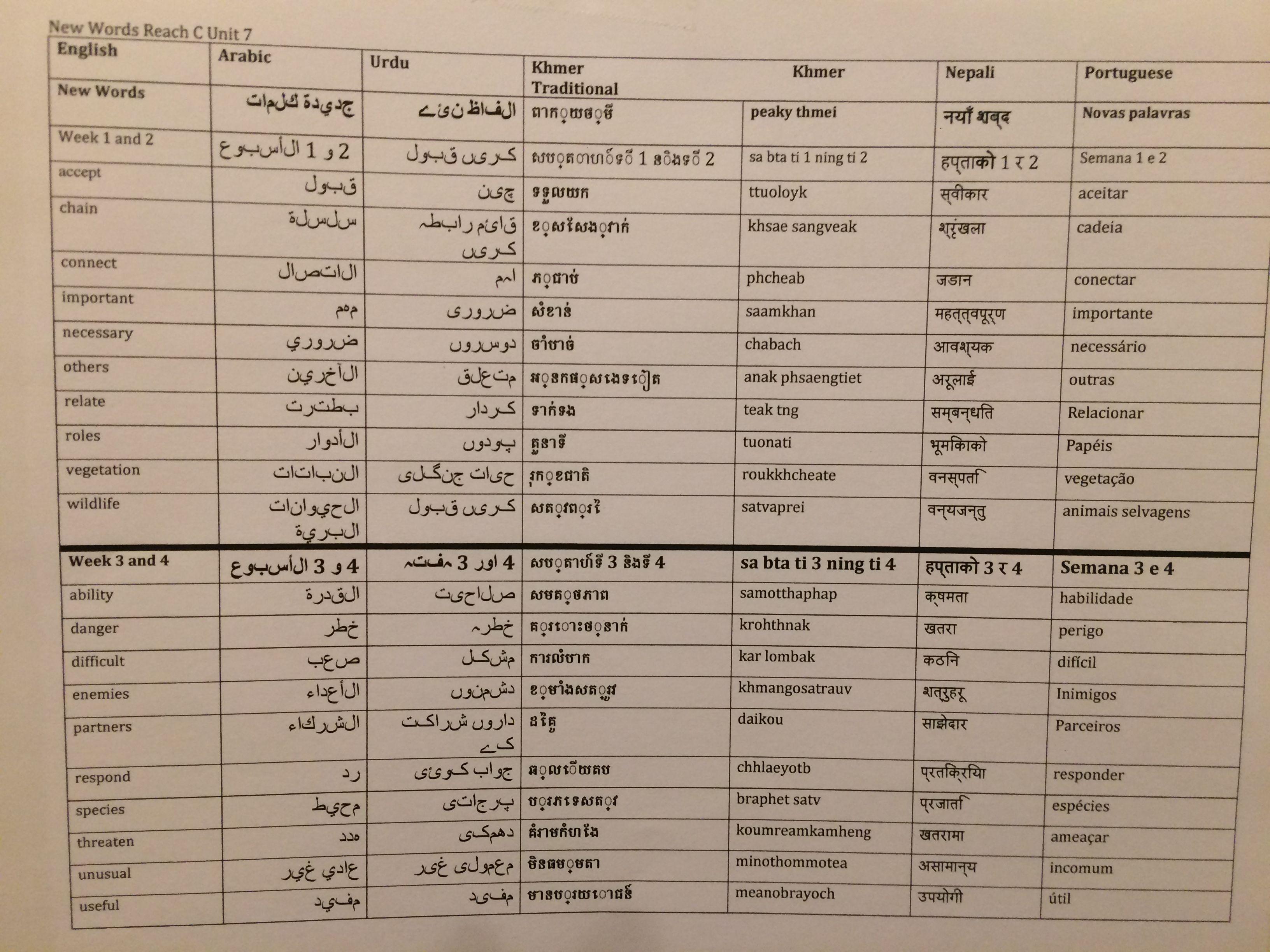 Reach C unit 7 words (Google) translated into Arabic, Urdu, Khmer ...