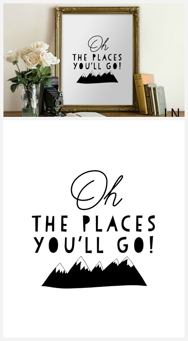 Oh The Places You'll Go Print, Cute home decor idea. Kids room decoration.