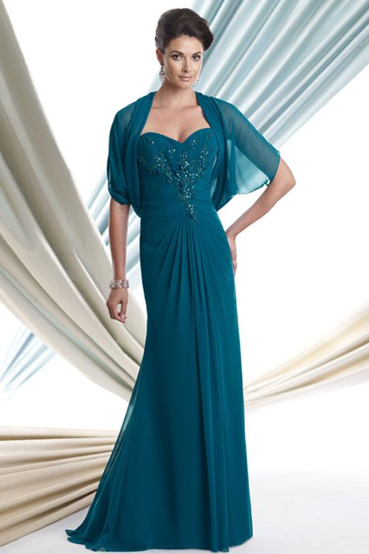 Mother of the Bride Dresses || Dark Teal Evening Gown | Fashion ...