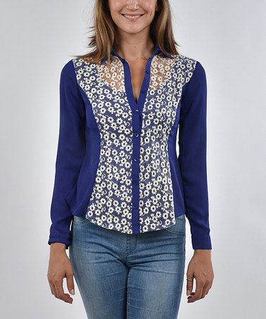 This Royal Blue Floral Lace Button-Up Top is perfect! #zulilyfinds