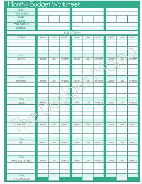 The Budget Mama {Updated} Monthly Budget Printable The Budget