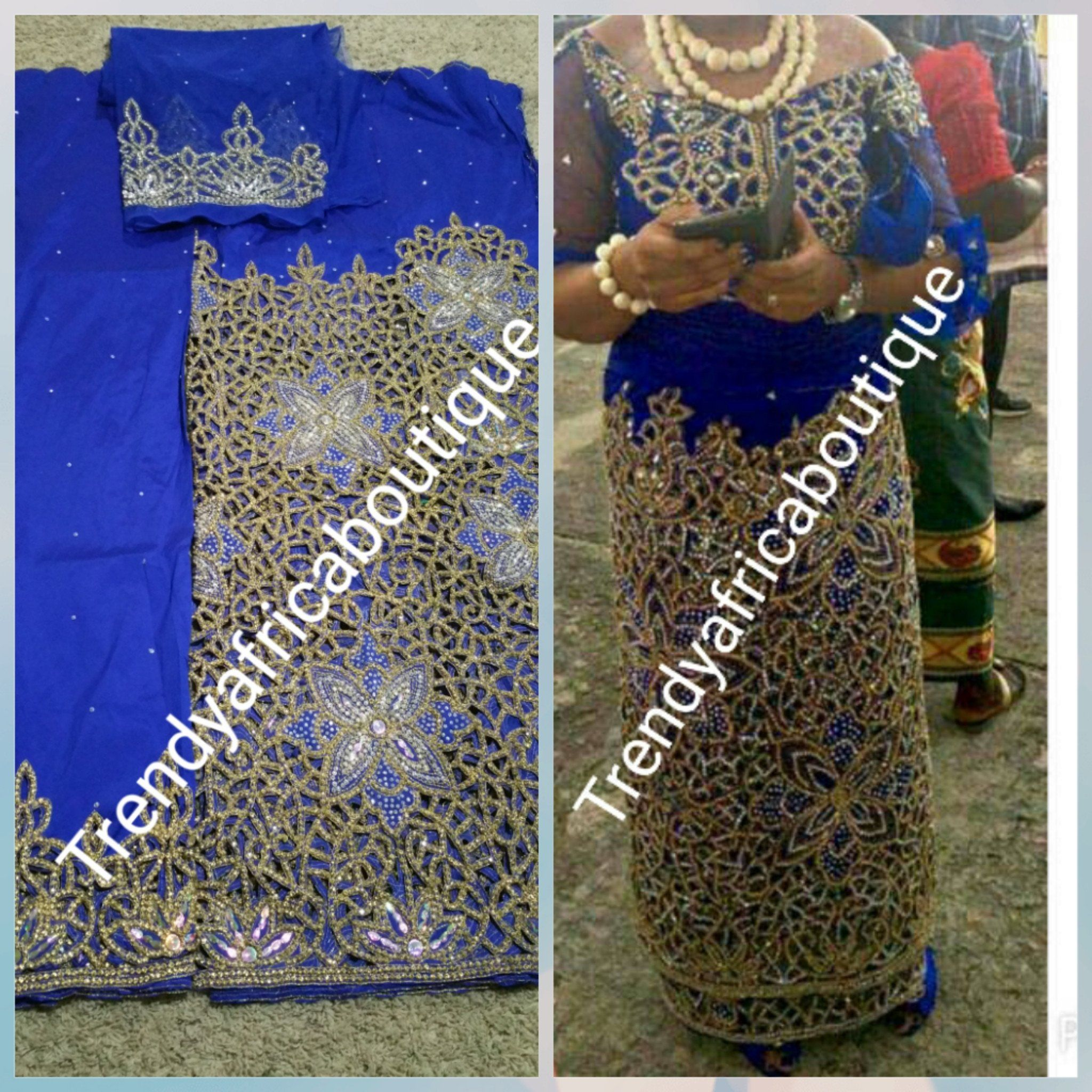 8c039f064e662e Heavily hand stoned VIP Madam silk George. Igbo women traditional celebrant George  wrapper with blouse