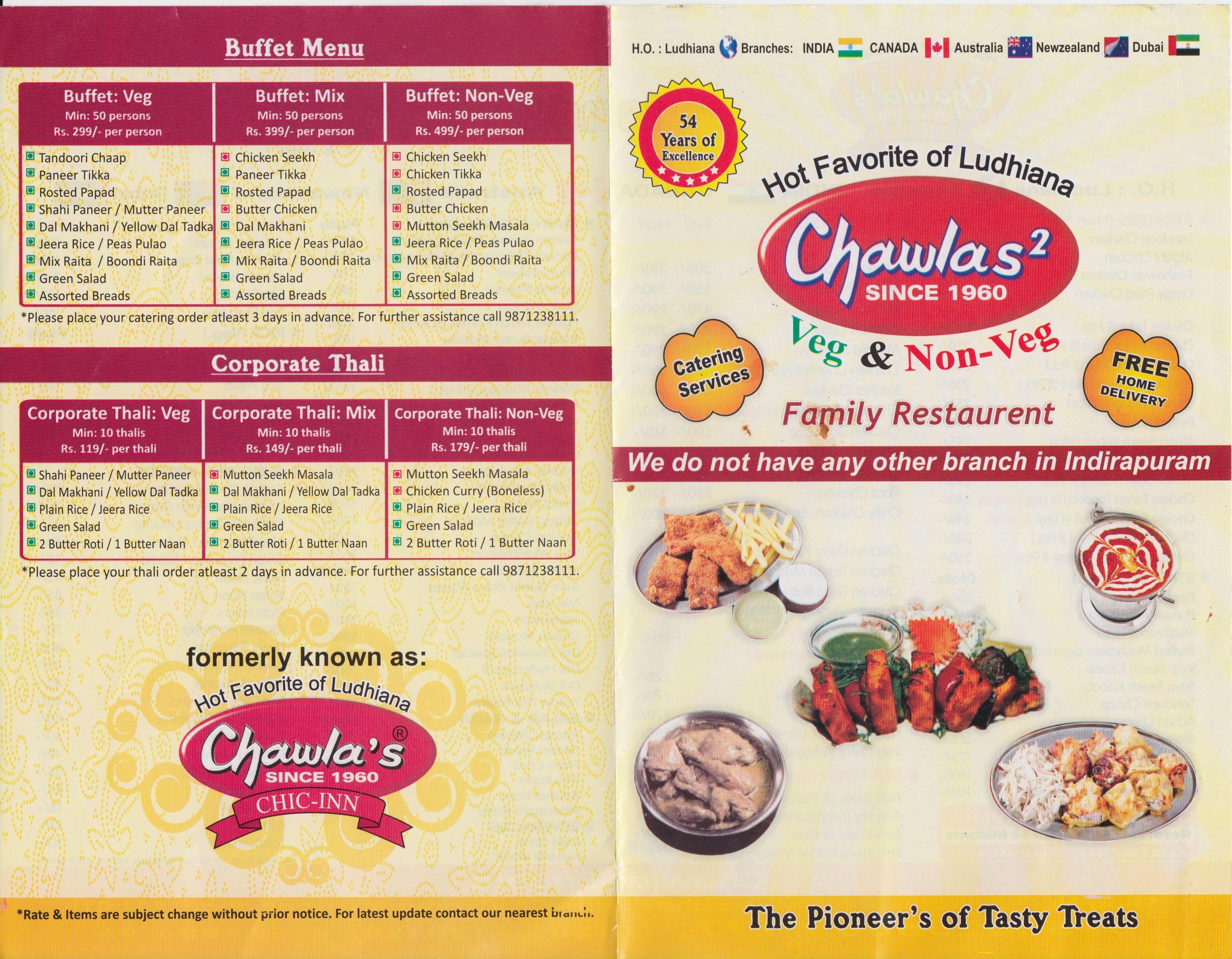Chawlas Indirapuram Menu Chawla Chicken Indirapuram Chawla Chicken Menu North Indian Restaurants