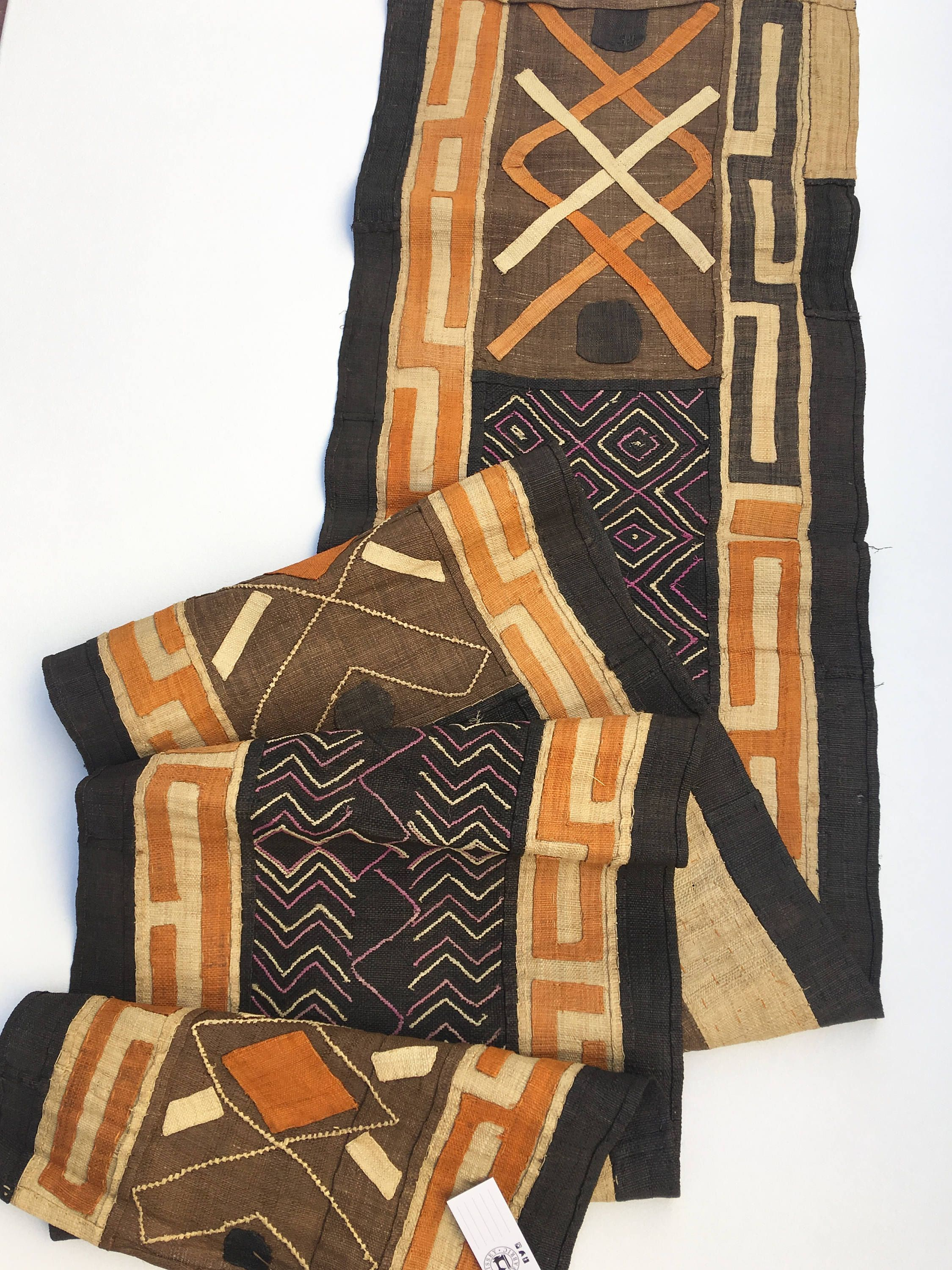 Kuba Cloth, Vintage African Textile, African Table Runner, Wall Decor, Hand  Made