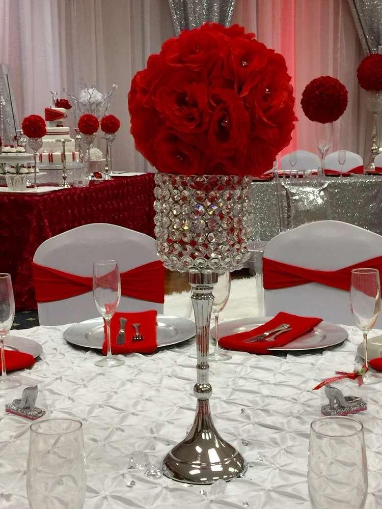 Diamonds roses quincea�era party ideas centerpieces