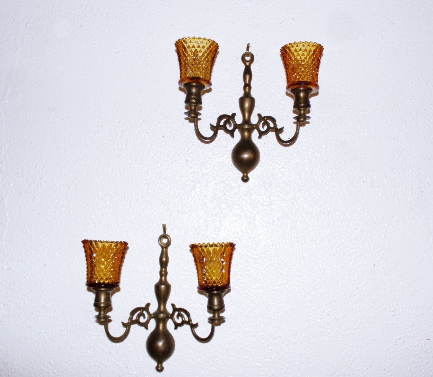 Vintage pair solid brass double arm wall sconces ornate handmade vintage pair solid brass double arm wall sconces ornate handmade india four matching amipublicfo Choice Image