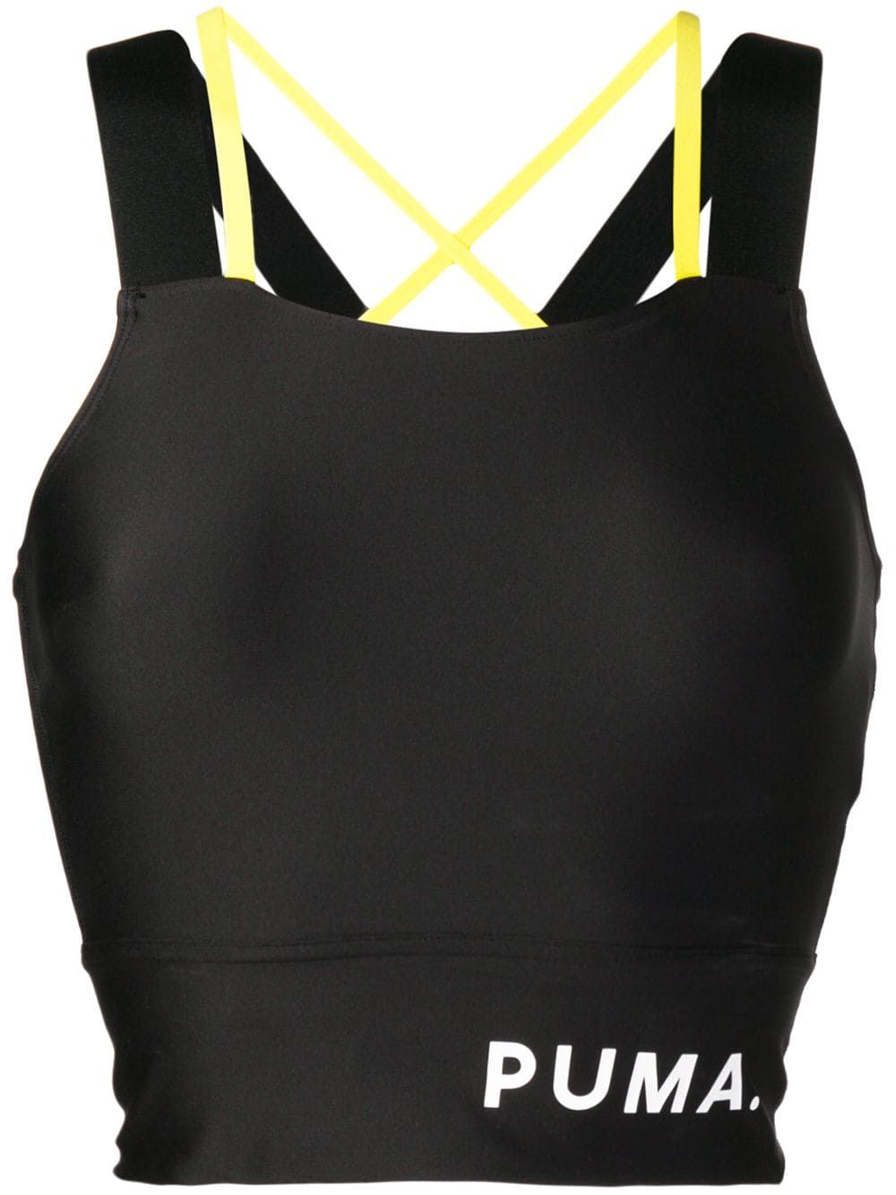 Logo banded crop top in 2020 Puma outfit, Fashion, Black