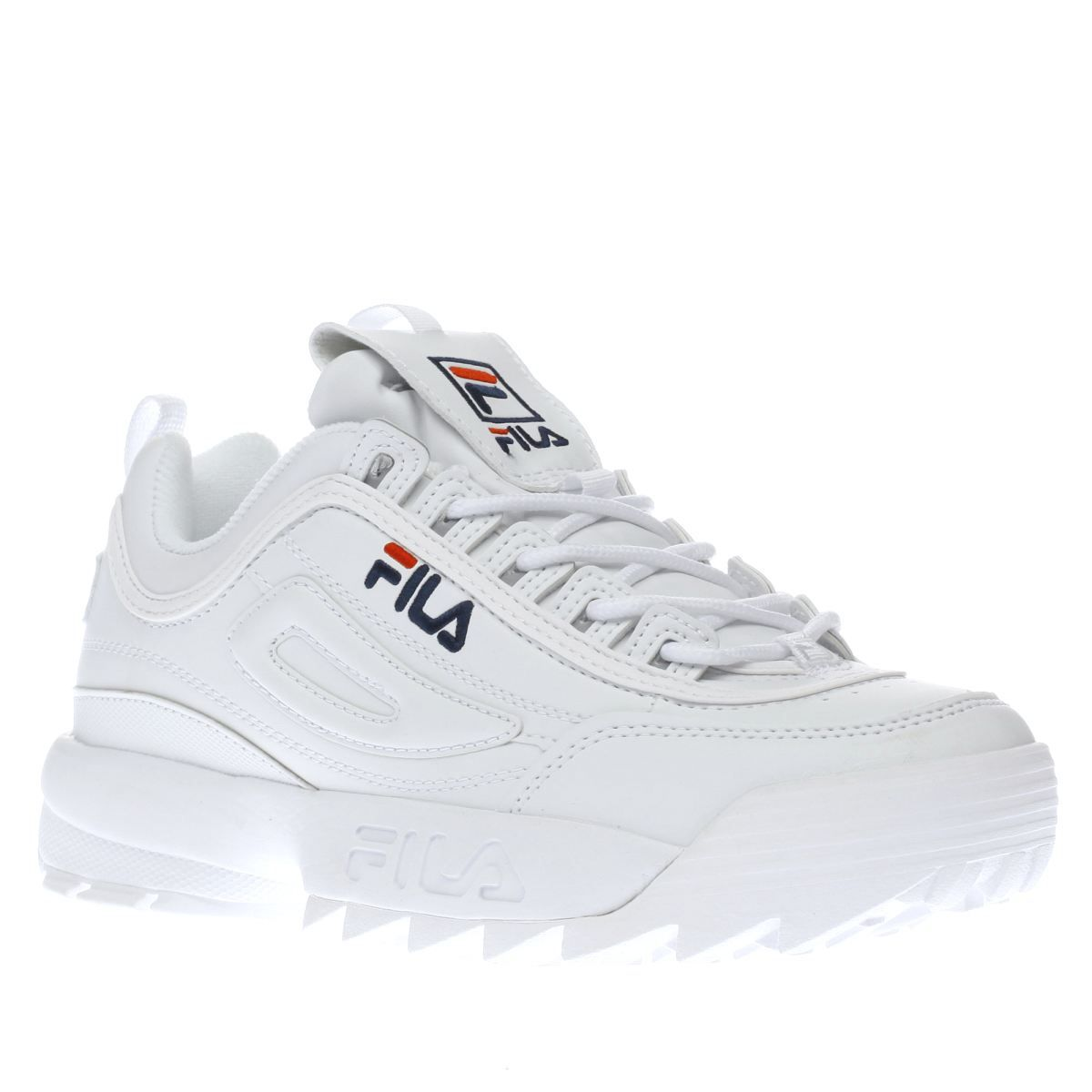 womens fila white disruptor low trainers  46007181b