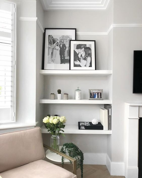 37 Simple Living Room Shelving Ideas for Space Saving images
