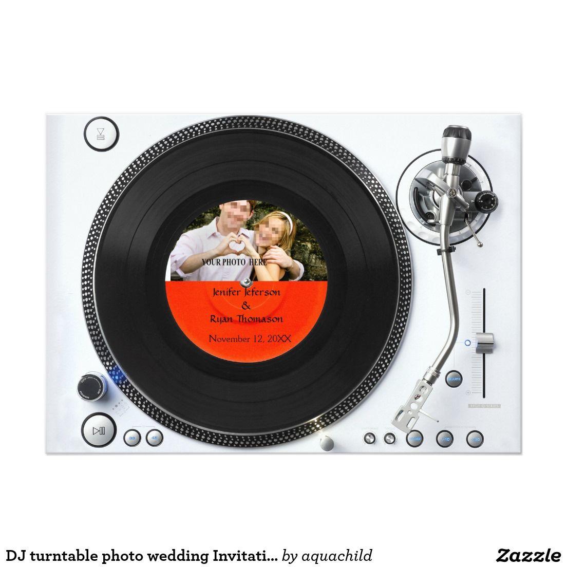 DJ turntable photo wedding Invitation | Customized unusual ...