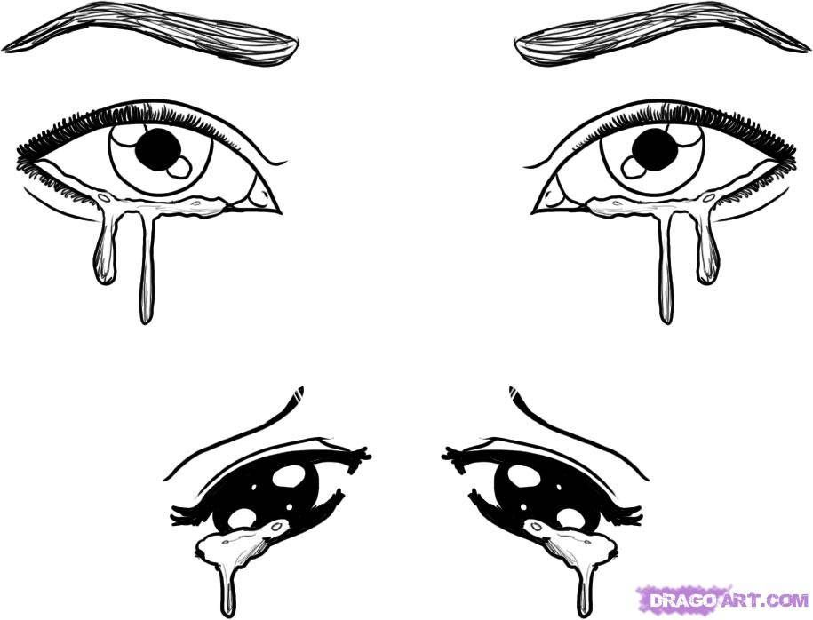 Drawing Anime Eyes Crying Kids Drawing Coloring Page With