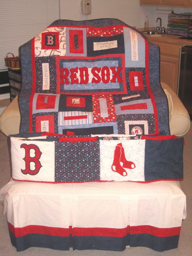 Red sox quilt redsox pinterest red socks socks and for Boston red sox bedroom ideas