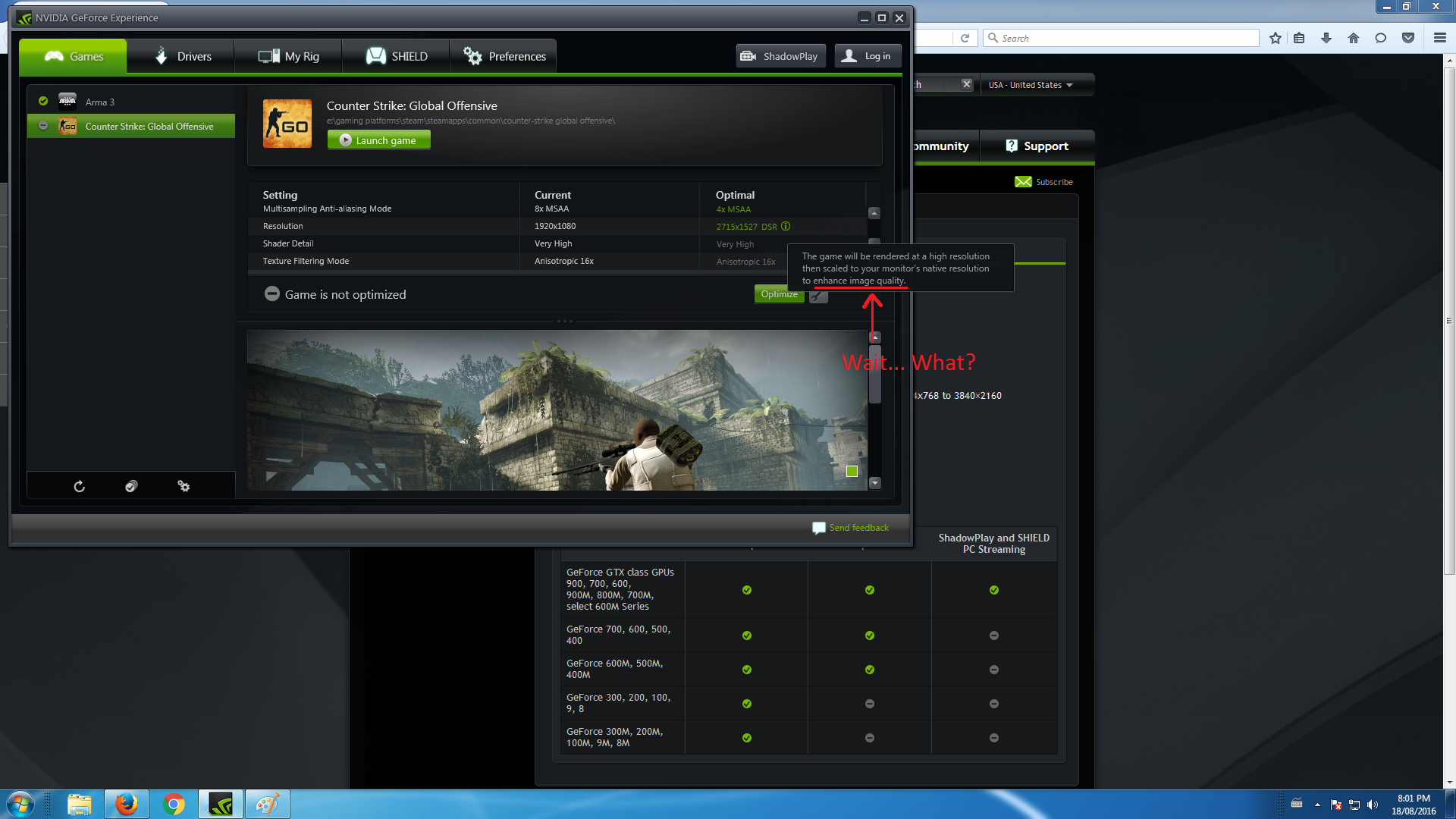CSGO 'optimization' setting on NVIDIA Experience MSI GTX1070