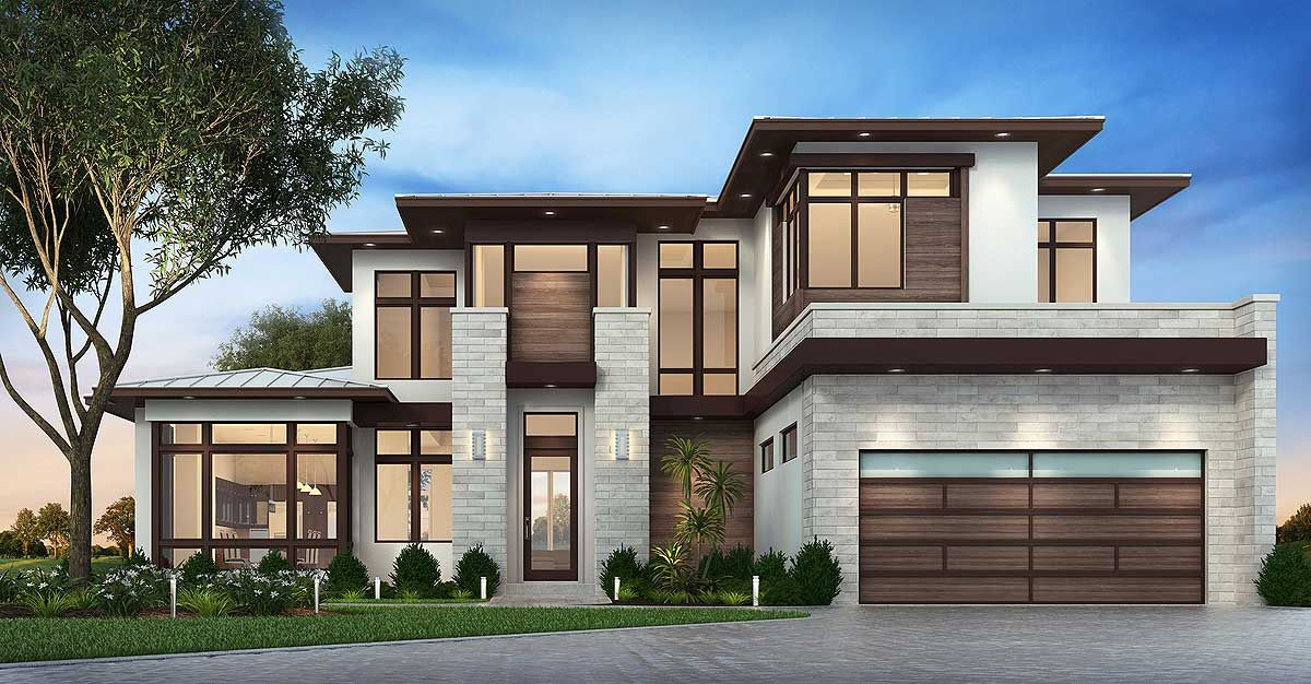 Plan 86039bw master down modern house plan with outdoor for Modern triplex house designs