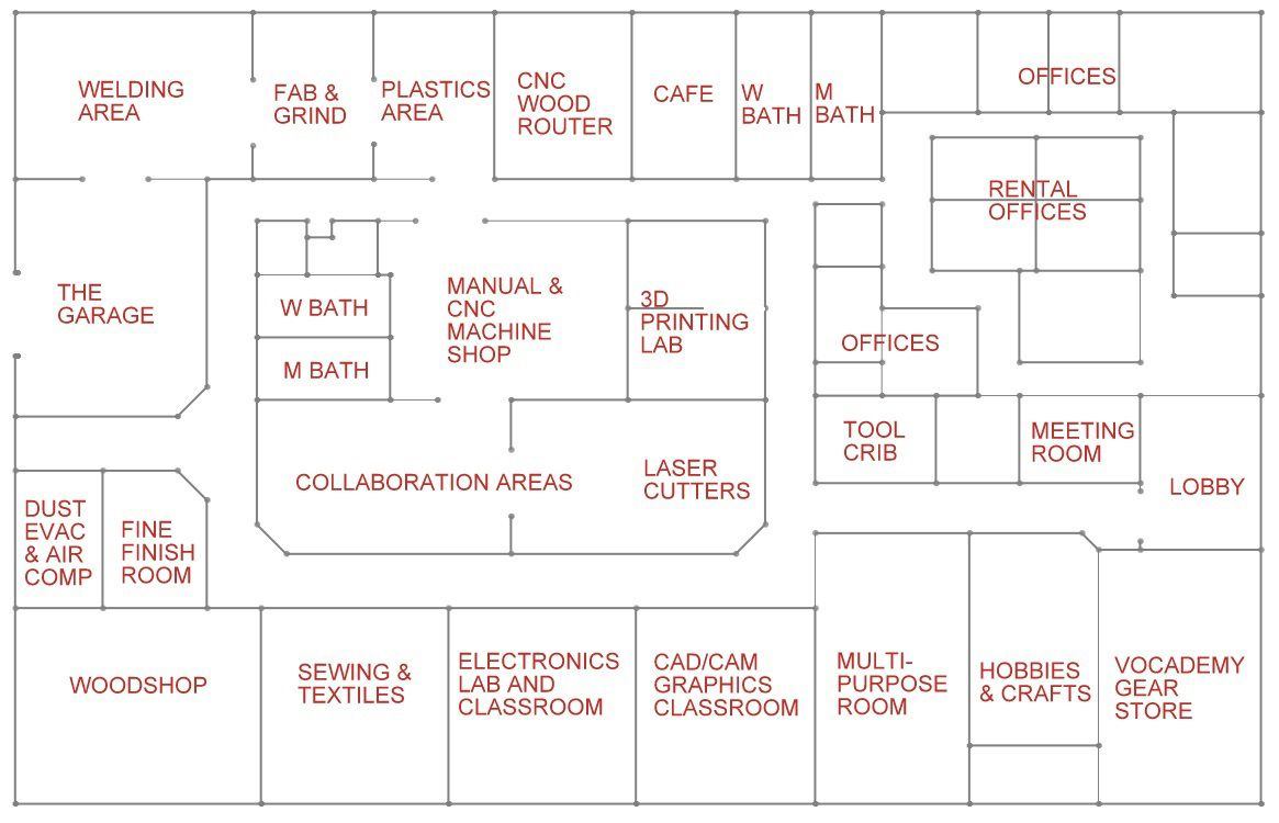 Vocademy floorplan makerspace pinterest for Apartment makerspace