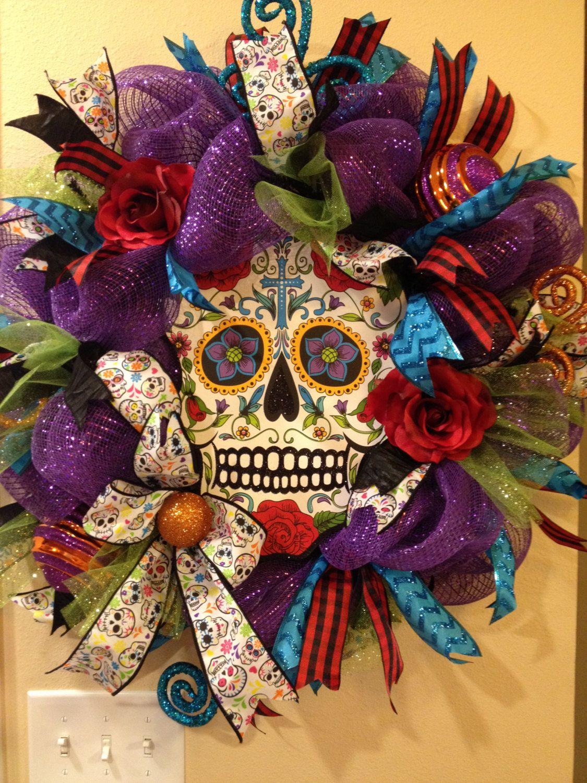 Deco mesh wreath Halloween witch in cauldron feet purple black ...