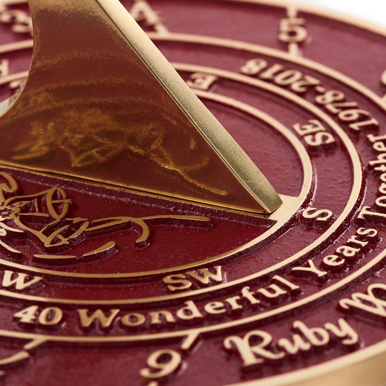 40th ruby wedding anniversary sundial gift ruby wedding