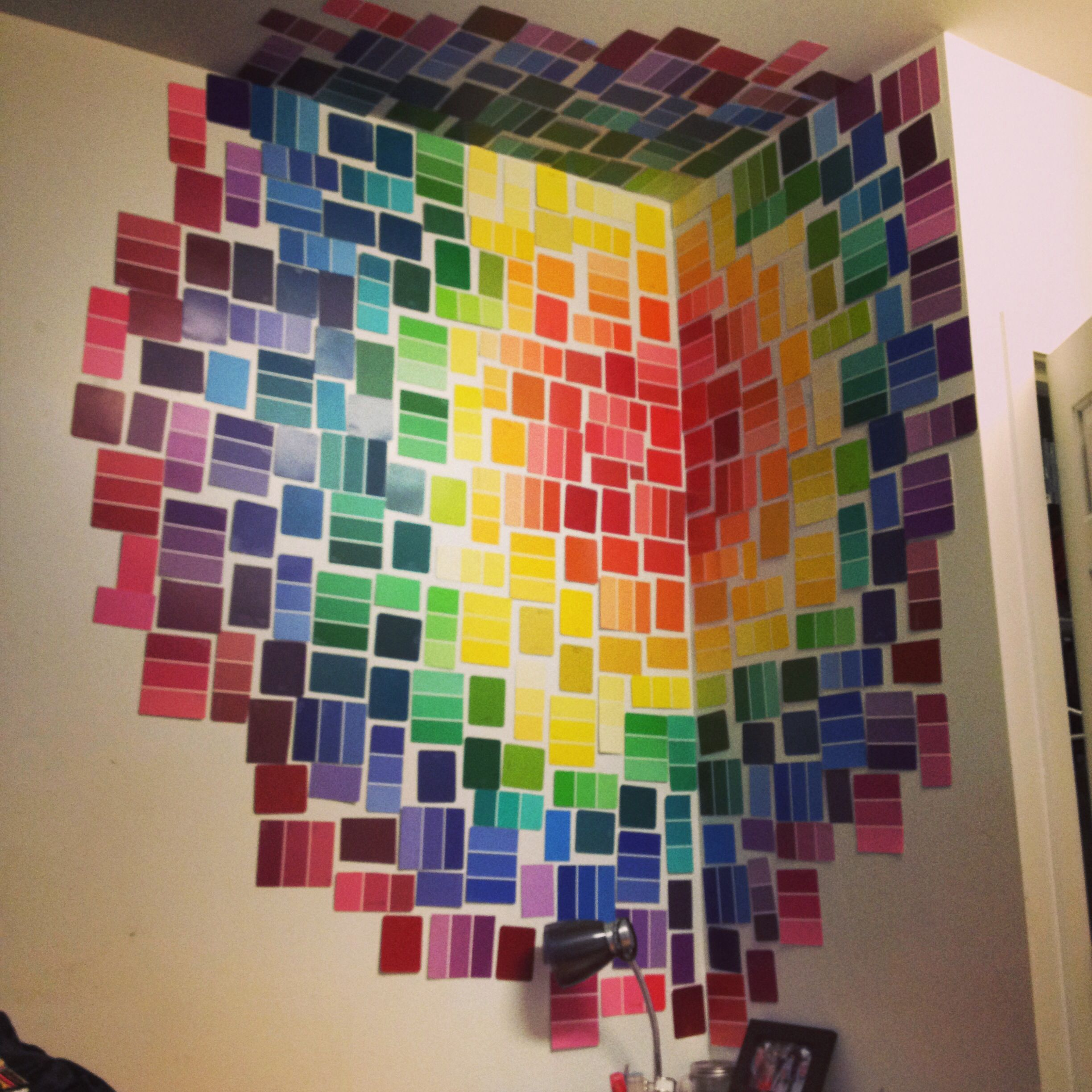dorm room wall decor pinterest. very inventive idea. bring colour to your room by adding paint strips wall. dorm wall decor pinterest