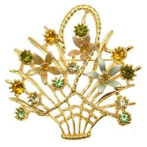 Enamel & Crystal Gold Costume Jewellery - Floral Flower Basket Brooch..Pretty