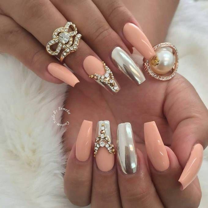 glam mirror nail art