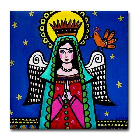 Shower Curtain Bathroom Decor Unique  Frida Kahlo Angel Art - Mexican Talavera Shower Curtain Bathroom Decor Uniques Gift