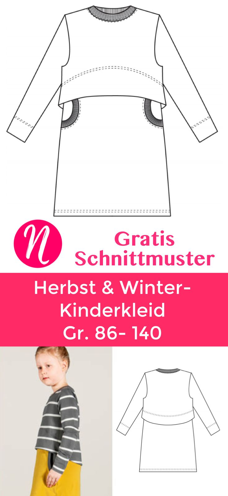 Kinderkleid aus Sweatshirtstoff - Freebook Gr. 86 - 140 | Pinterest ...