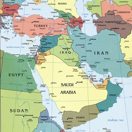 Middle East map 2 (Middle Eastern Jew,Persian,Caucasus,Turkish - new world map political