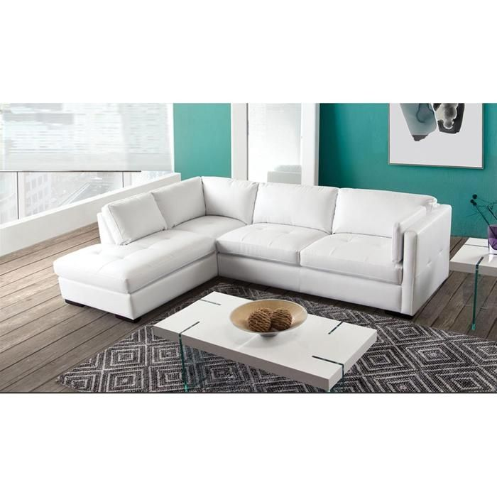 Urban 2 Piece Left Facing Chaise Sectional in White
