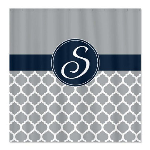 Custom Quatrefoil Shower Curtain Personalized With Monogram Initial Navy Blue Grey White OR Choose C