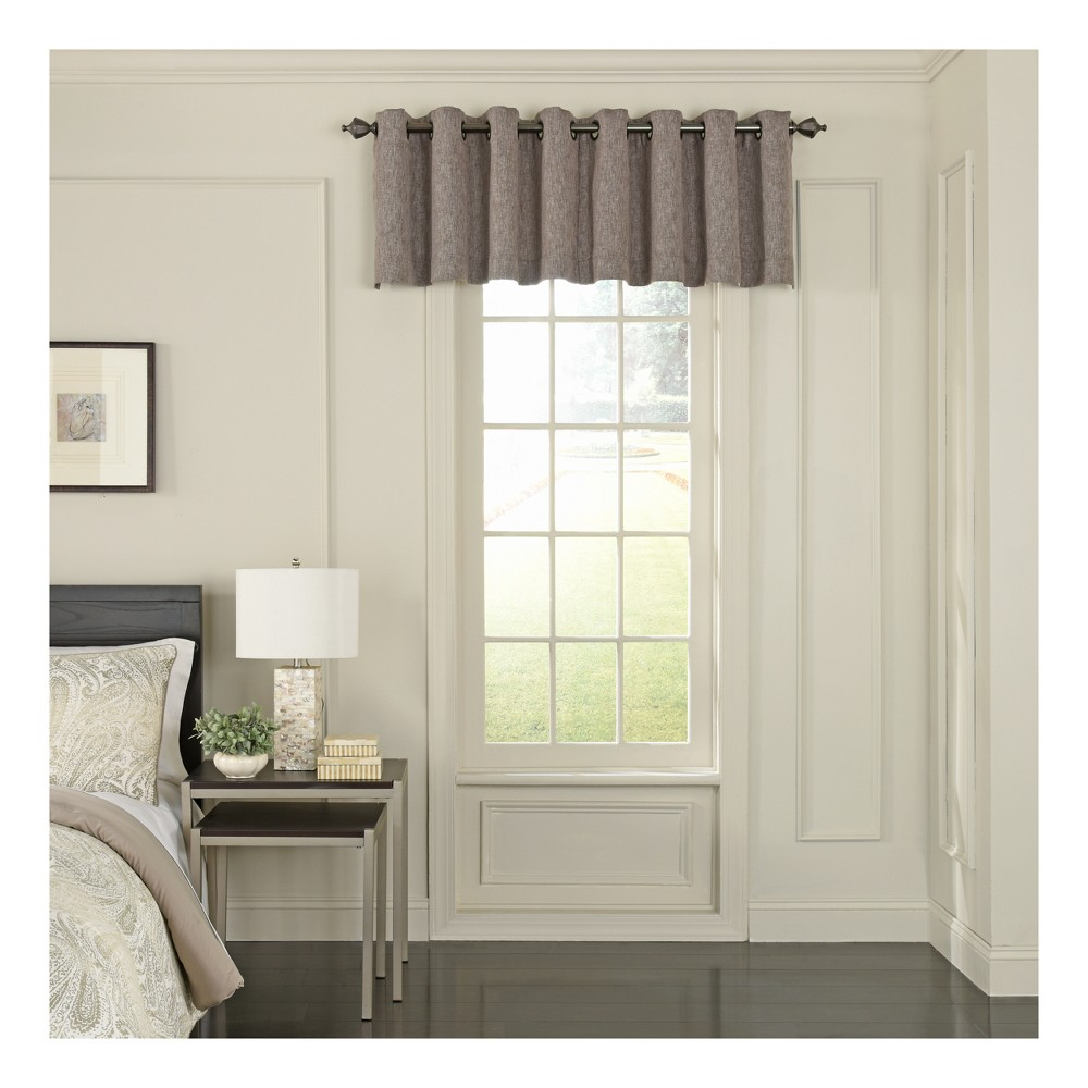 Beautyrest Arlette Scalloped Blackout Window Valance Dark Mushroom (Brown)/Solid 52x18