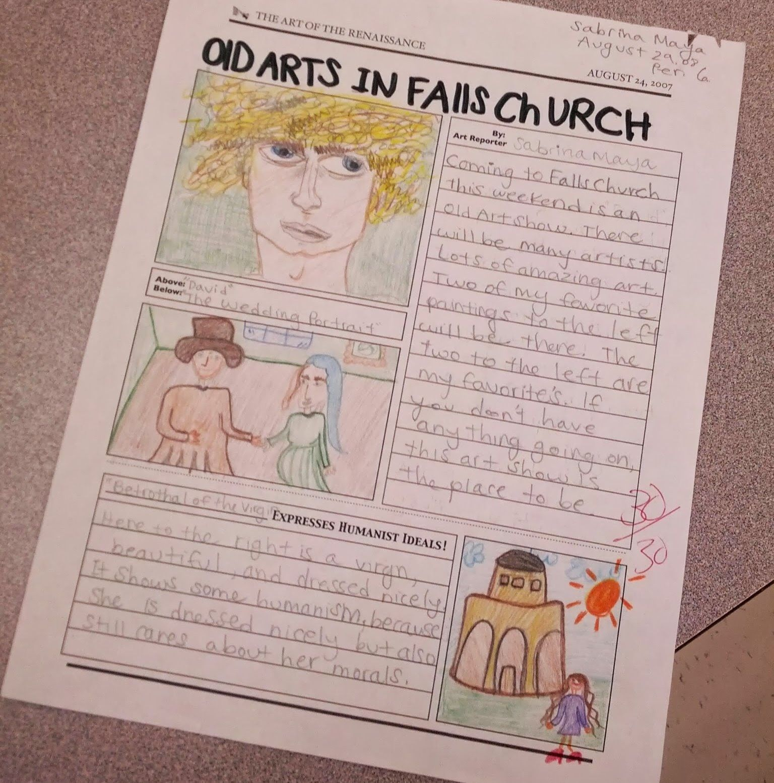 007 Renaissance Art Show and Newspaper Project World history