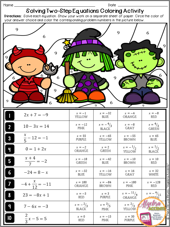 Solving Two Step Equations Halloween Algebra Activity | Two ...
