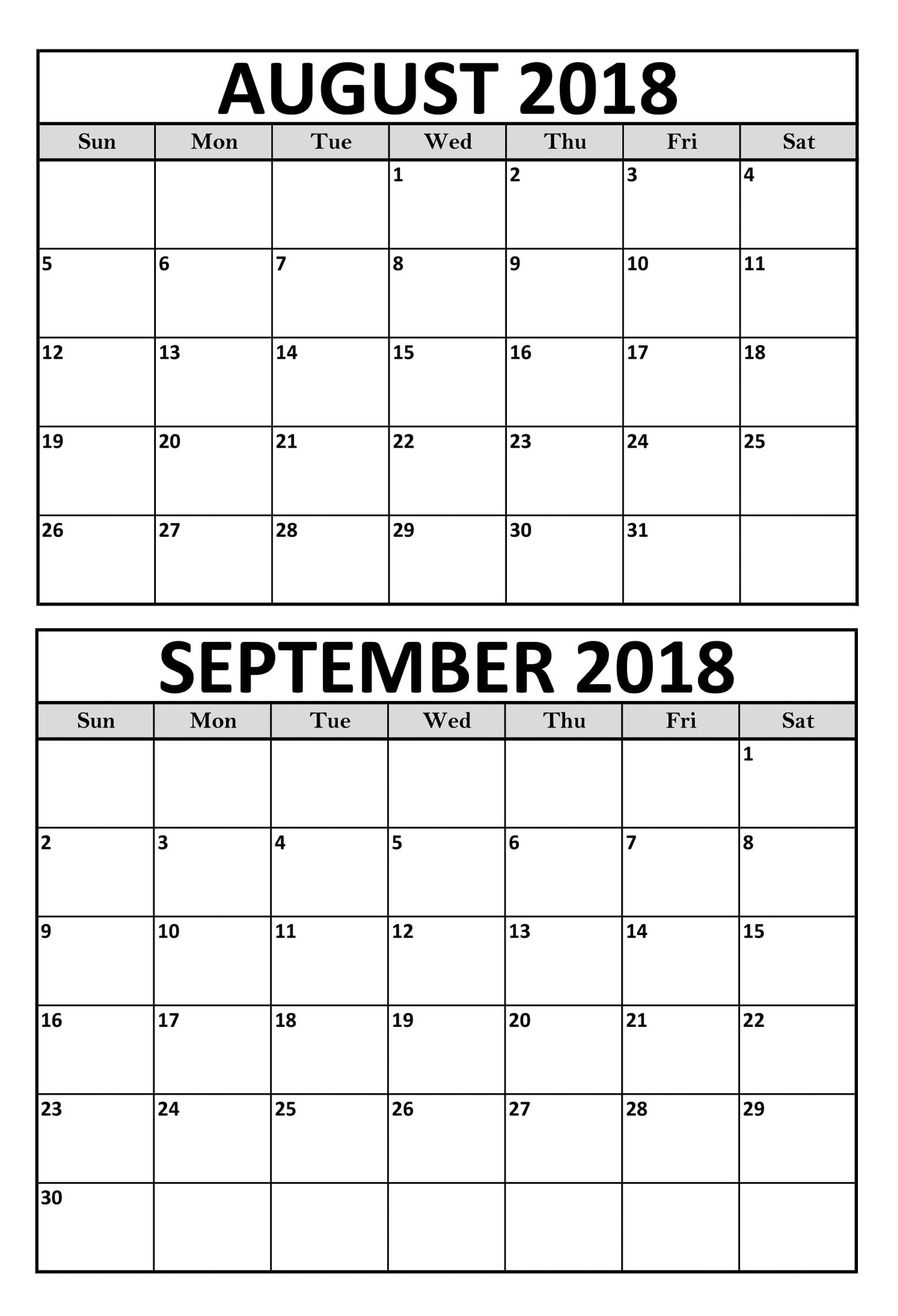 august september 2018 calendar printable template