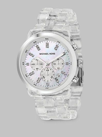 52a9ef09582e Michael Kors - Clear Chronograph Bracelet Watch