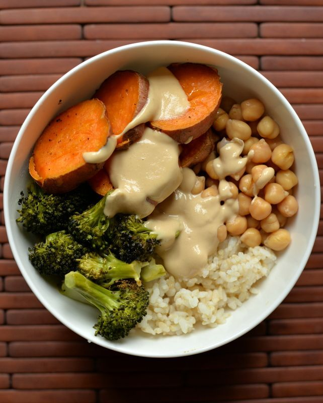 Sweet Potato and Broccoli Bowl with a Miso-Sesame