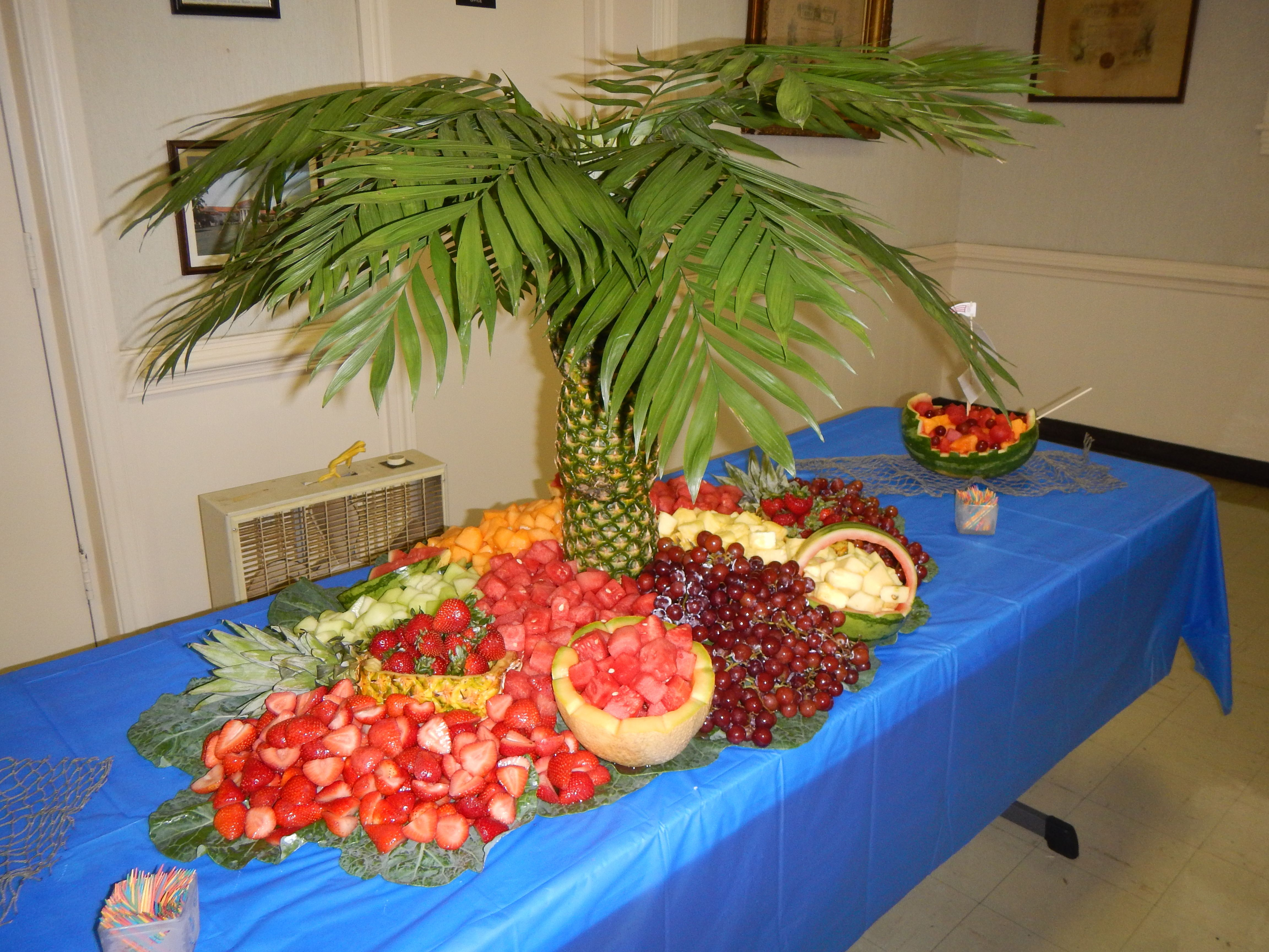 Pineapple Tree Fruit Table Luau Party Party Table Party Planning