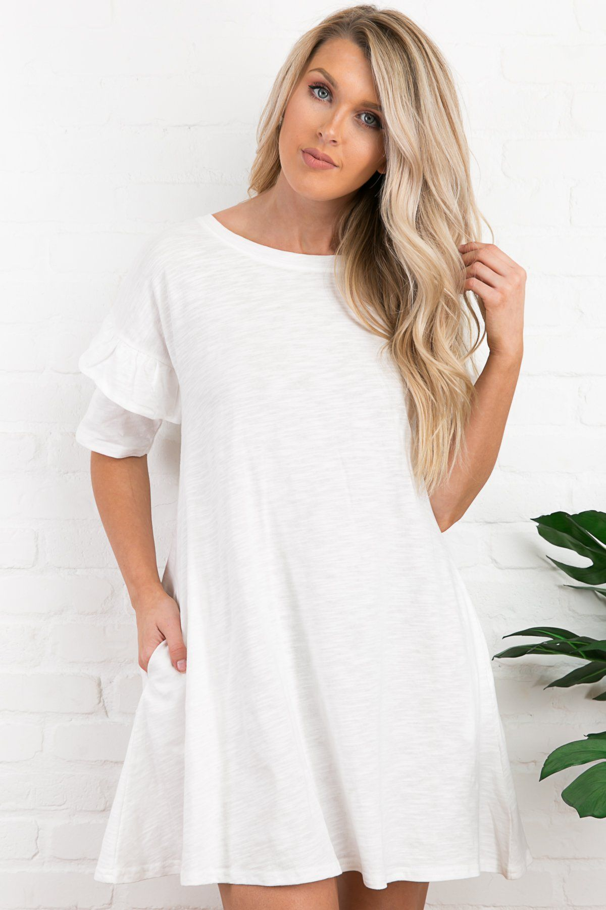 a5f22f8ed8f4 Aleah Tiered Ruffle Sleeve Dress in White