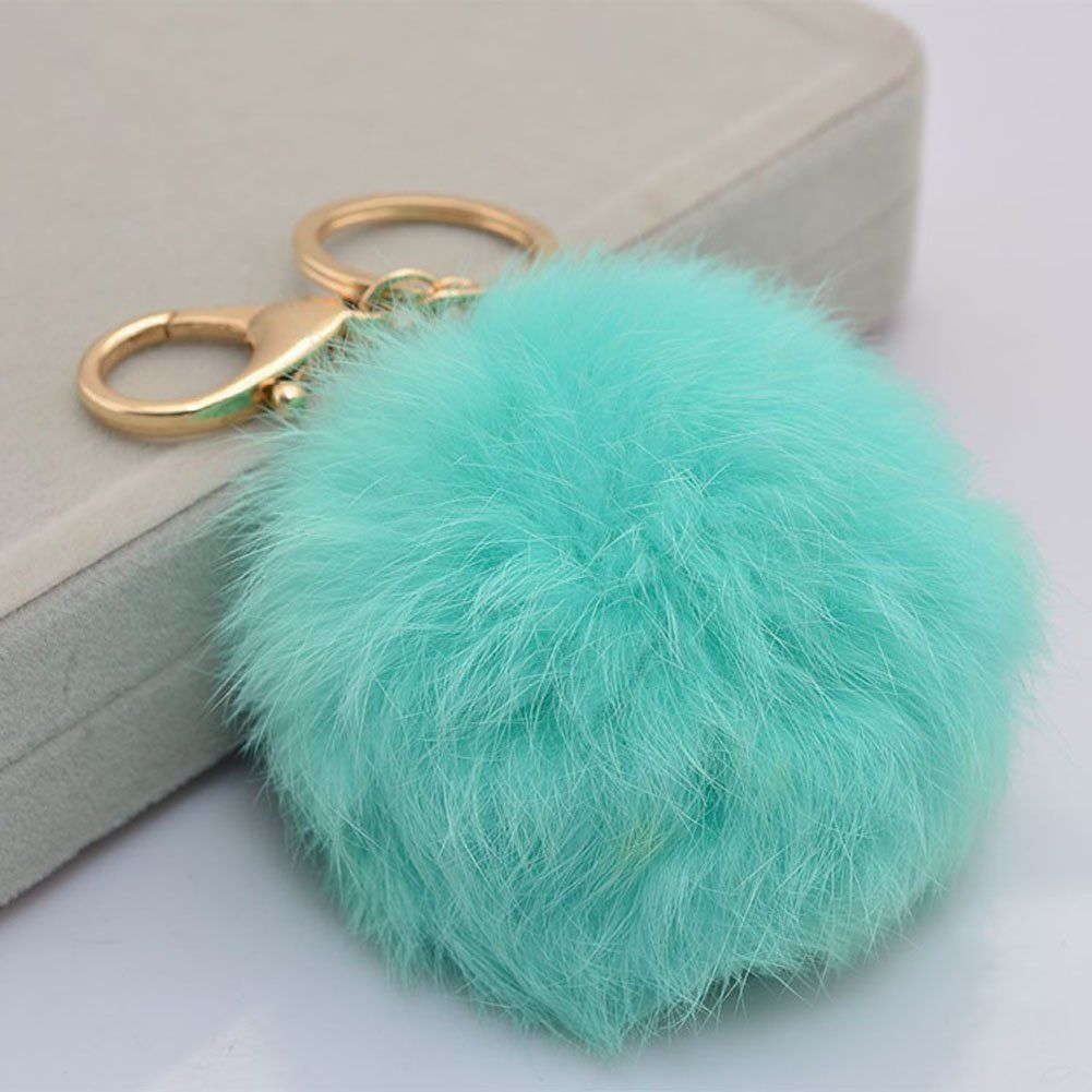 be20039bff11 18 K Gold Plated Keychain with Plush Cute Genuine Rabbit Fur Key Chain for Car  Key Ring or Bags 0025 (color 13)