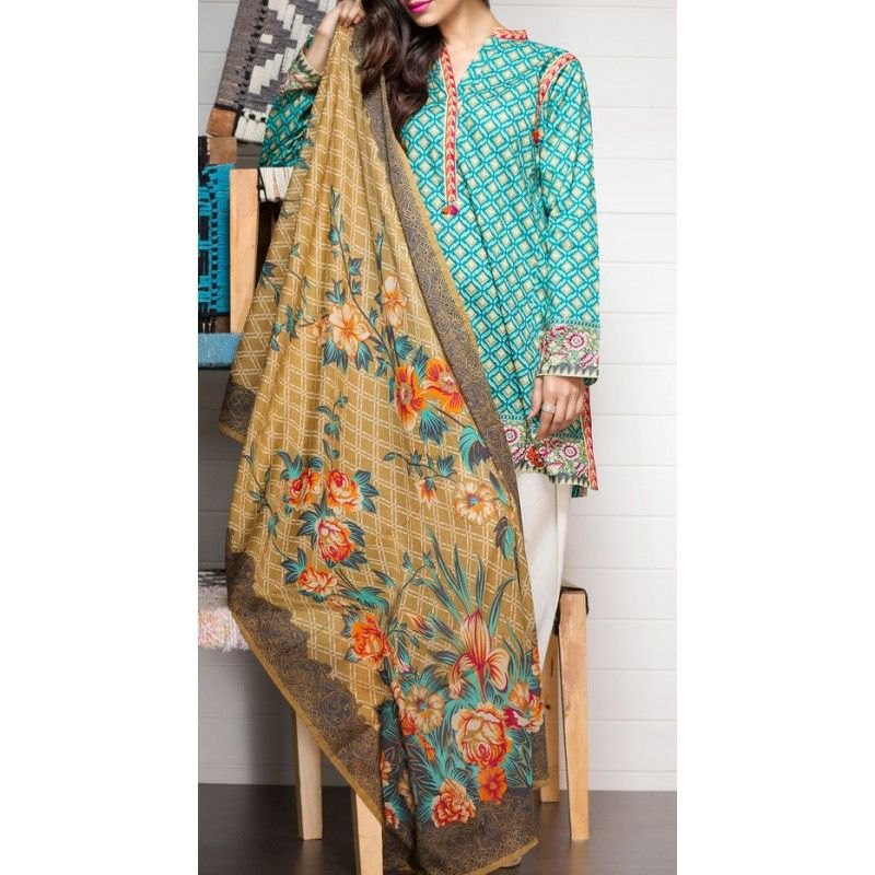 Aqua Printed Cambric Dress (2pc) Contact: (702) 751-3523  Email: info@pakrobe.com  Skype: PakRobe
