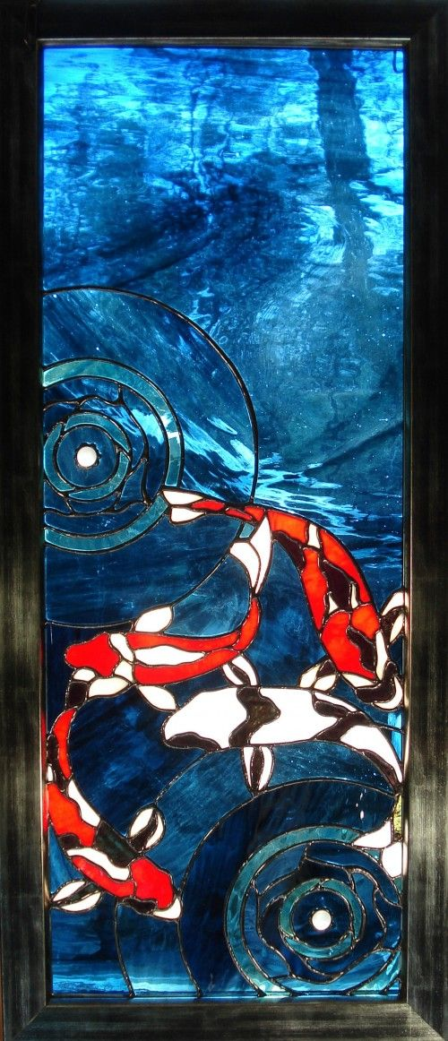 Koi fish stained glass panel water ringlettes stained for Koi pond glass