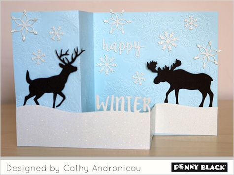 Featuring Penny Black stamps and dies and the cardmaking style of Cathy Andronicou-- click through for details