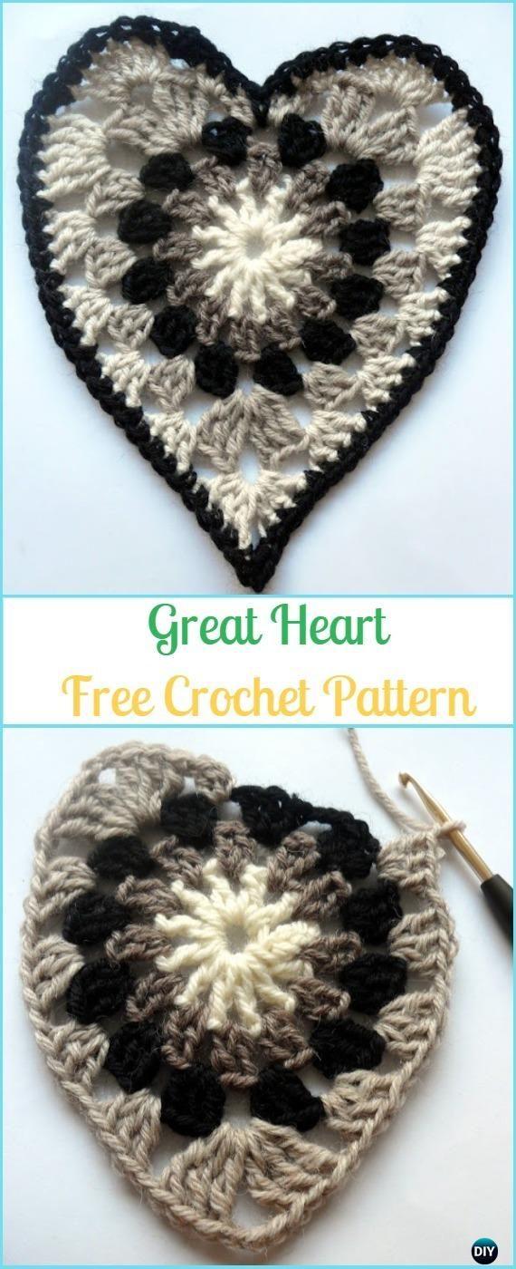 25 Crochet Heart Applique Free Patterns | Free pattern, Crochet and ...