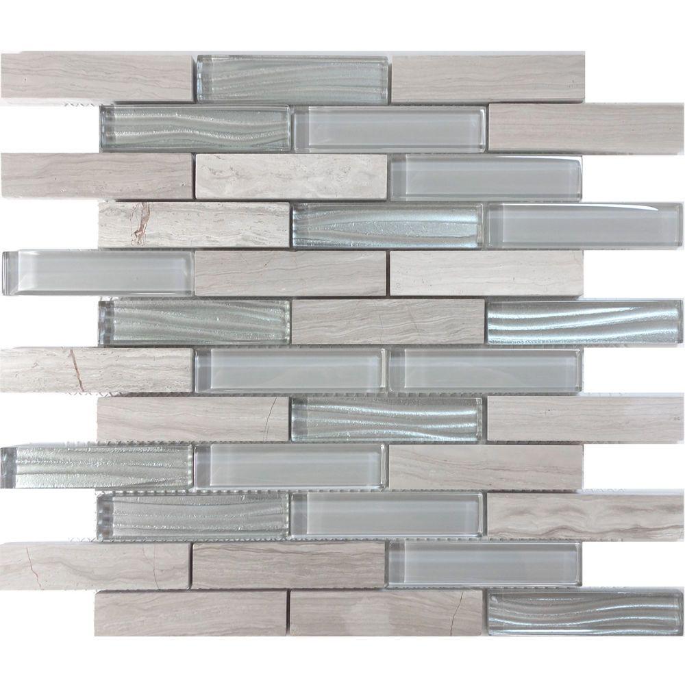 White Oak Stone Gray Crystal Metallic Wave Glass Blend Mosaic Tile