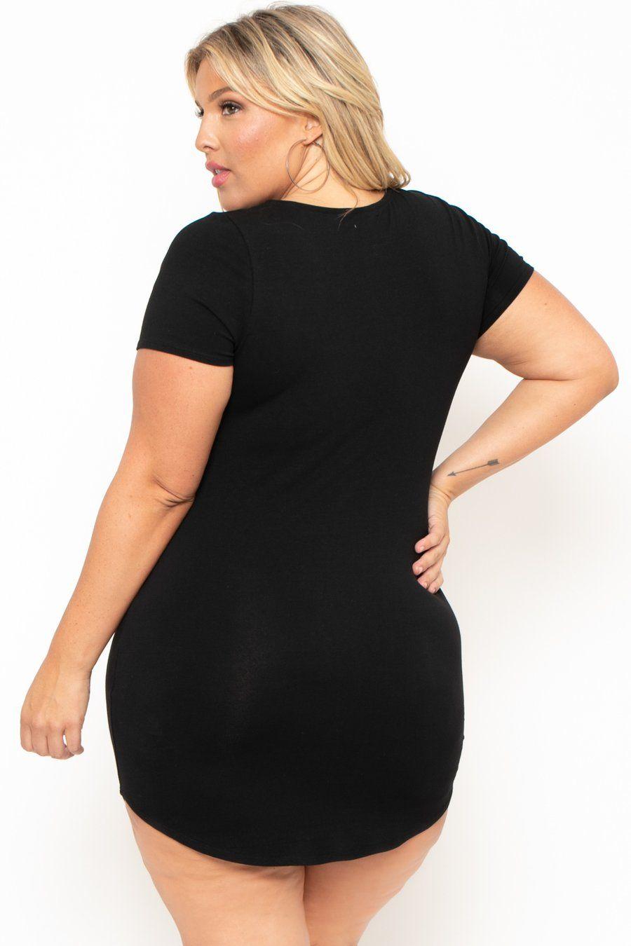 Plus Size Destroyed Tee Dress - Black in 2019 | Mini dress | Tee ...
